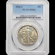 1928-S Pcgs MS64 Walking Liberty Half Dollar