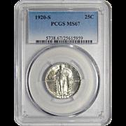 1920-S Pcgs MS67 Standing Liberty Quarter