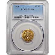 1911 Pcgs MS64 $2.50 Indian Gold