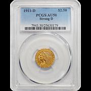 1911-D Pcgs AU50 $2.50 Strong D Indian Gold