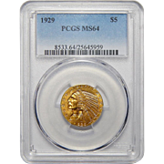 1929 Pcgs MS64 $5 Indian Gold