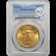 1924-S Pcgs MS64 PQ! $20 St Gaudens