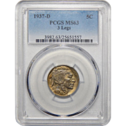 1937-D 3 Legs Pcgs MS63 Buffalo Nickel