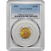 1909 Pcgs MS65 $2.50 Indian Gold