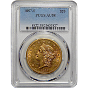 1857-S Pcgs AU58 $20 Liberty Head Gold