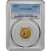 1912 Pcgs MS64 $2.50 Indian Gold