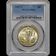 1937-S Pcgs MS66 Walking Liberty Half Dollar