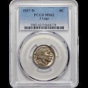 1937-D 3 Legs Pcgs MS62 Buffalo Nickel