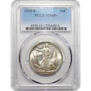 1929-S Pcgs MS65+ Walking Liberty Half Dollar