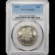 1909 Pcgs MS65 Barber Half Dollar