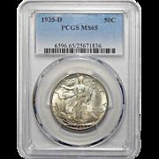 1935-D Pcgs MS65 Walking Liberty Half Dollar