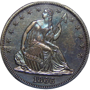 1866 Pcgs PR64 Motto Liberty Seated Half Dollar