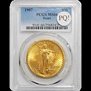1907 Pcgs MS66 PQ! $20 St. Gaudens Gold