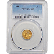 1888 Pcgs MS67 $1 Gold