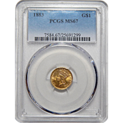1883 Pcgs MS67 One Dollar Gold