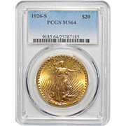 1926-S Pcgs MS64 $20 St. Gaudens Gold