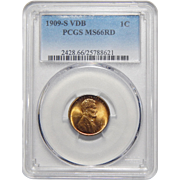 1909-S VDB Pcgs MS66RD Lincoln Wheat Cent