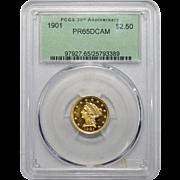 1901 Pcgs PR65DCAM $2.50 Liberty Head Gold