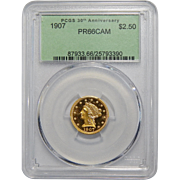 1907 Pcgs PR66CAM $2.50 Liberty Head Gold