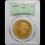1876-CC Pcgs MS60 $20 Liberty Head Gold
