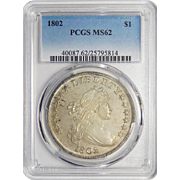 1802 Pcgs MS62 Draped Bust Dollar