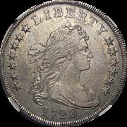 1799/8 Ngc XF45 15 Reverse Stars Draped Bust Dollar