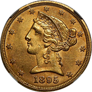 1895 Ngc MS64 $5 Liberty Head Gold
