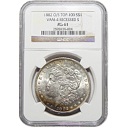 1882-O/S Ngc MS61 Strong Top-100,VAM-4 Recessed-S Morgan Dollar