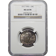 1917 Ngc Type 1 MS64FH Standing Liberty Quarter
