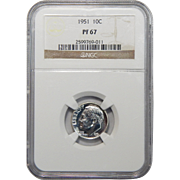 1951 Ngc PF67 Roosevelt Dime