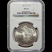 1883-CC Ngc MS64 Morgan Dollar