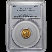 1903 Pcgs MS67 $1 Louisiana Purchase, Jefferson Gold