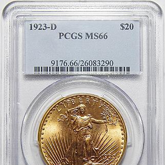 1923-D Pcgs MS66 $20 Saint Gaudens