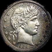 1908 Ngc PF65 Barber Quarter
