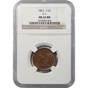 1853 NGC MS65BN Braided Hair Half Cent