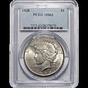 1928 Pcgs MS63 Peace Dollar