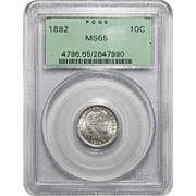 1892 Pcgs MS65 Barber Dime