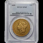 1850 Pcgs XF45 $20 Liberty Head Gold