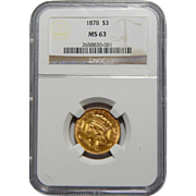 1878 Ngc MS63 $3 Gold