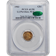 1903 Pcgs/Cac AU50 LA Purchase, McKinley One Dollar Gold