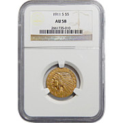 1911-S Ngc AU58 $5 Indian Gold