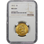1812 Ngc MS64+ $5 Capped Bust Gold