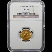 1836 Ngc AU58 Block 8 $2.50 Classic Head Gold