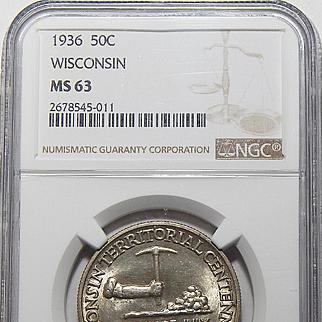 1936 Ngc MS63 Wisconsin Half Dollar