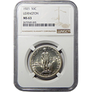1925 Ngc MS63 Lexington Half Dollar