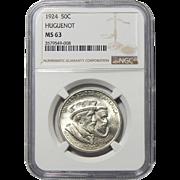 1924 Ngc MS63 Huguenot Half Dollar