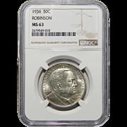 1936 Ngc MS63 Robinson Half Dollar