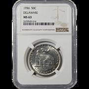 1936 Ngc MS63 Delaware Half Dollar