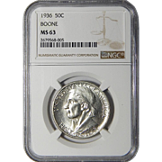 1936 Ngc MS63 Boone Half Dollar