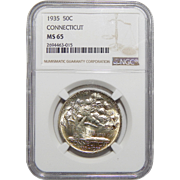1935 Ngc MS65 Connecticut Half Dollar
